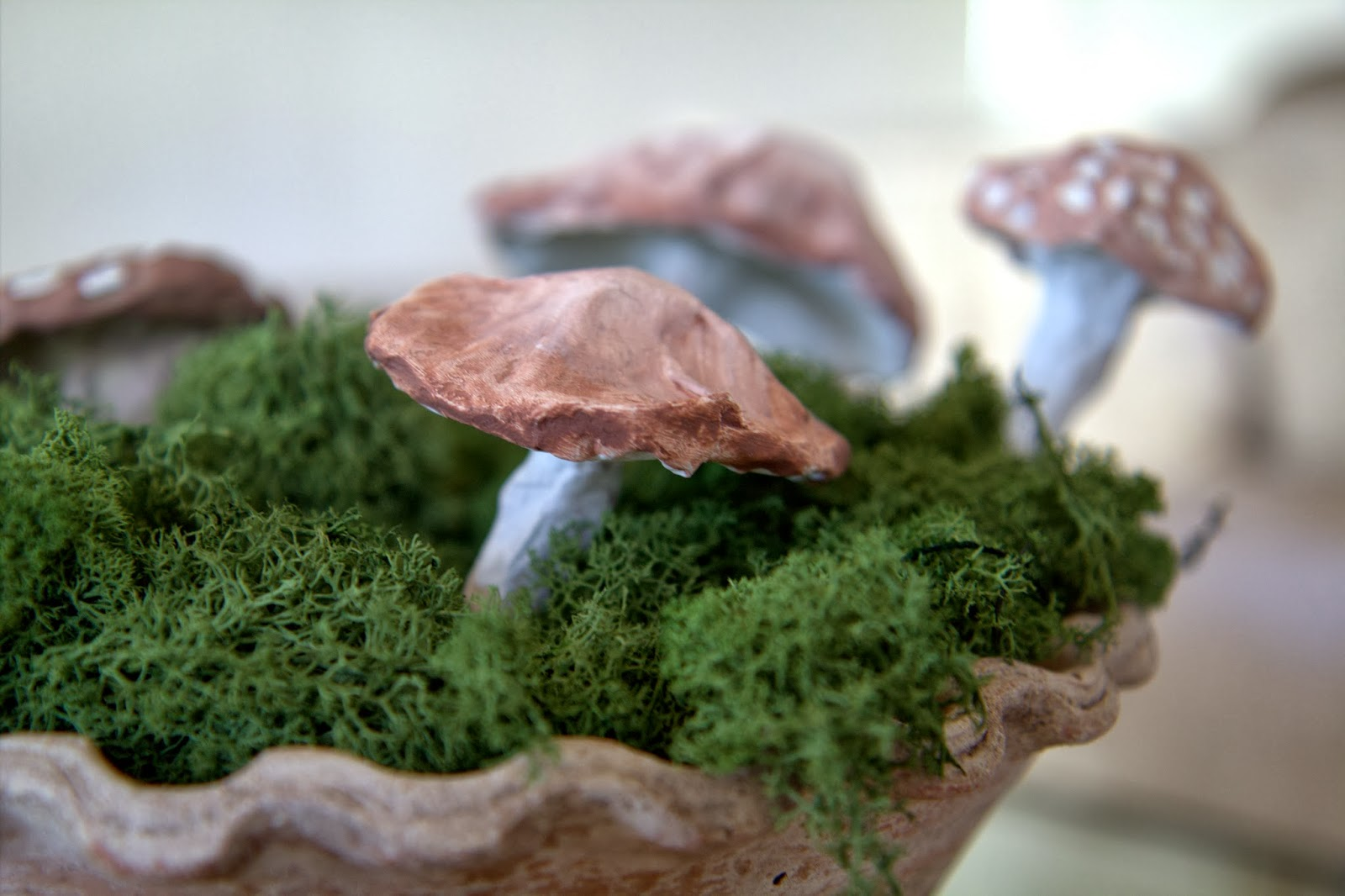 Paper Mache Mushrooms in Moss 3
