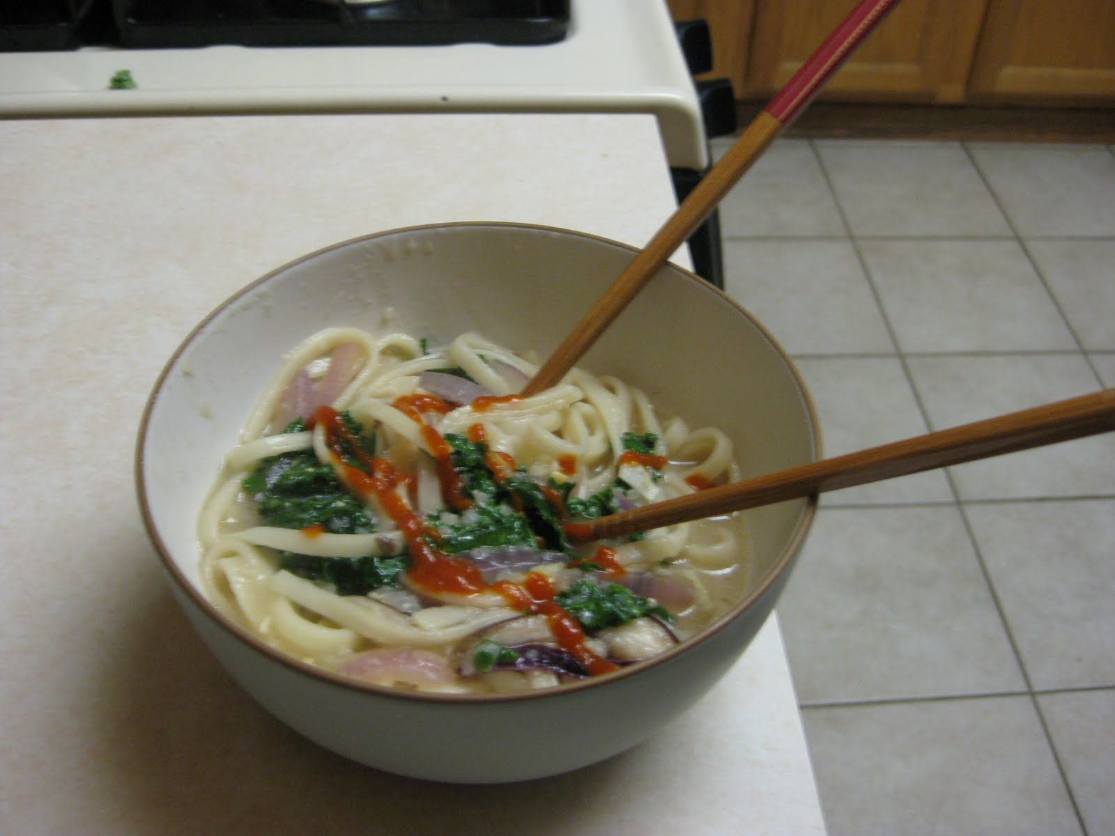 Here's the recipe for Udon with Shiitake Mushrooms and Kale in Miso ...