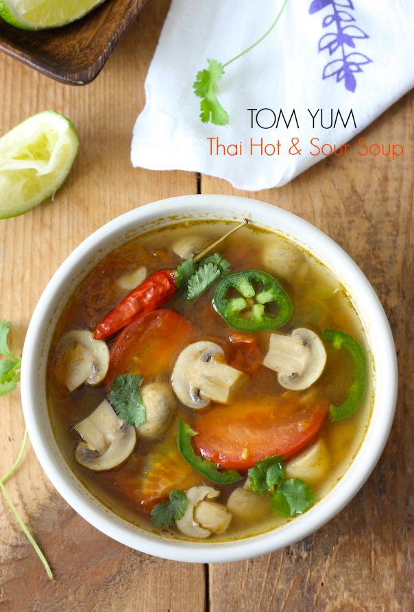 vegetarian thai tom yum soup with kaffir lime leaf powder by SeasonWithSpice.com