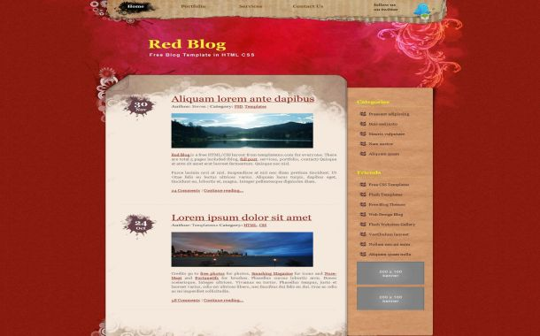 Free Floral Art Red Jquery Css Website Template