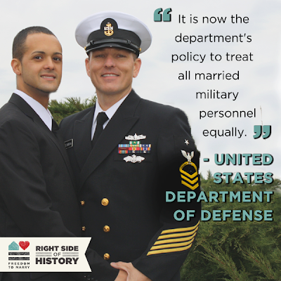 marriage equality in the military We have much to celebrate with this affirmation of the dignity, liberty and equality of same-sex couples,  marriage equality and transgender people.