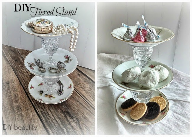 DIY Tiered Plate Stands www.diybeautify.com