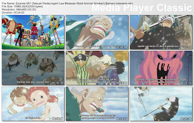 Download Film One Piece Episode 587 (Sebuah Pertarungan! Law Melawan Wakil Admiral Smoker!) Bahasa Indonesia