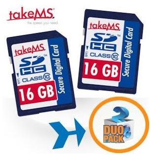 Doppelpack TakeMS SDHC-Speicherkarten mit 16 GB bei iBood für 30,90 Euro