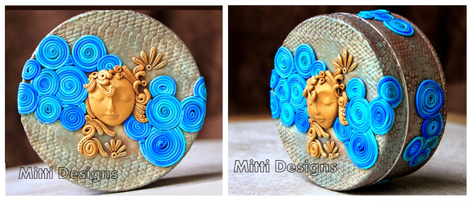 polymer clay, stainless steel, tin, box, moon, clouds, handmade, mitti designs, unique