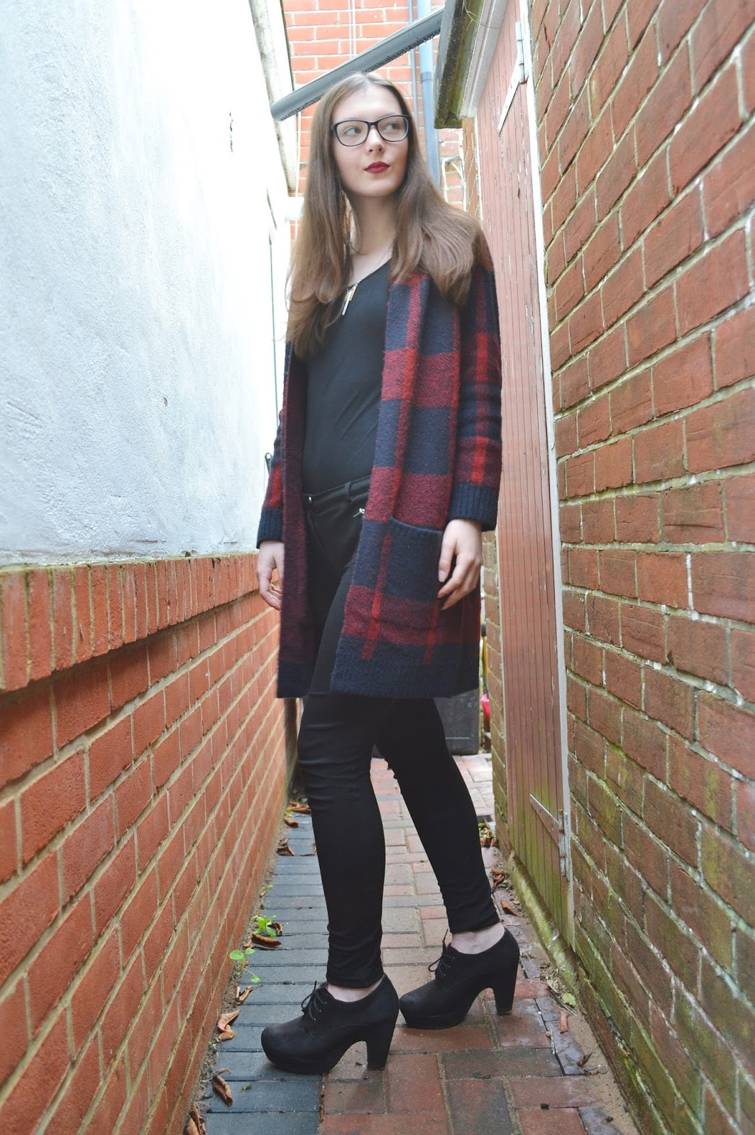 lunar look tartan check cardigan
