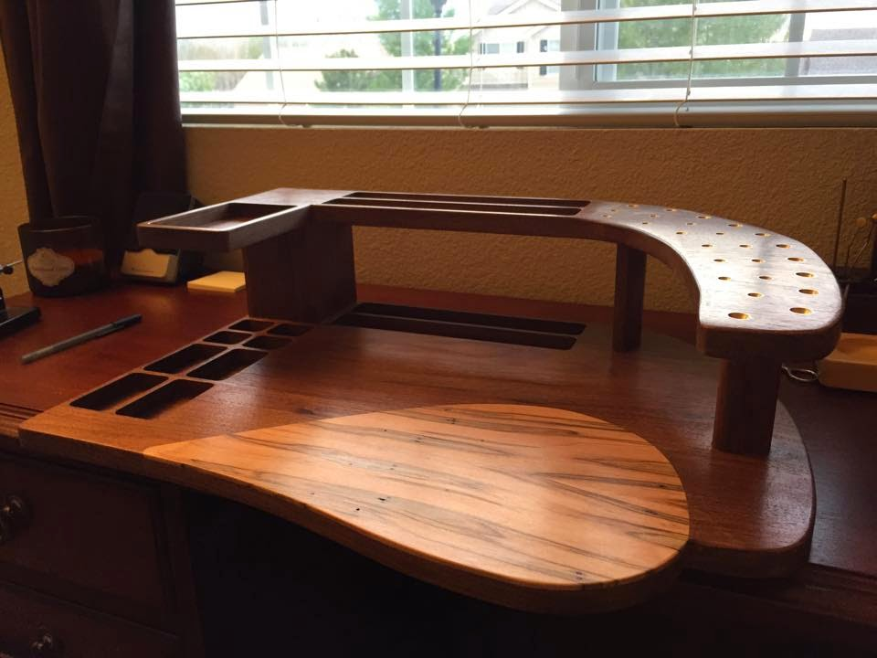 Fly Tying Bench Ideas Part - 36: As You Can See, This Is No Ordinary Rectangular, Manufactured Tying Station.  This Masterpiece Is Made Of Walnut And The Teardrop Inlay Is Made Of  Ambrosia ...