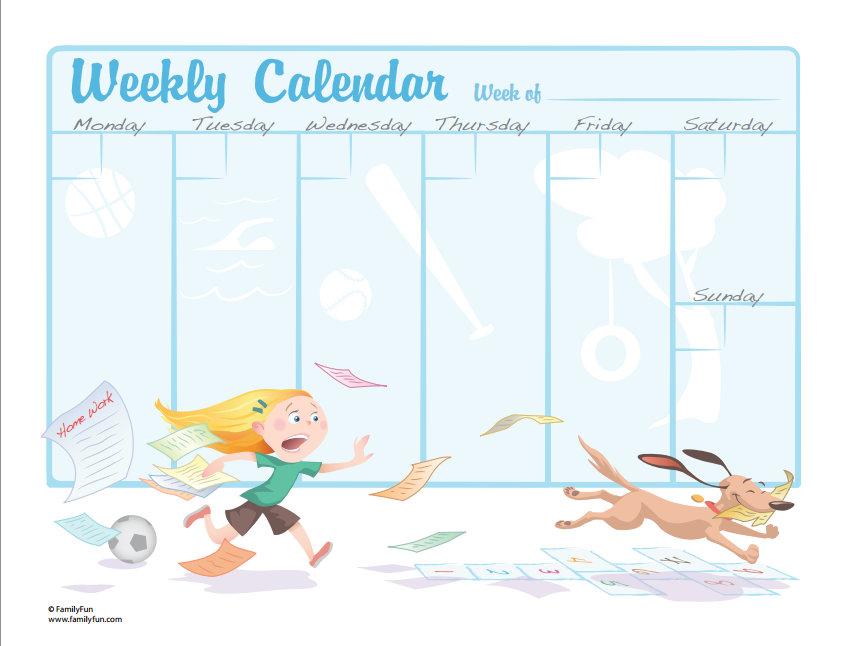 Kids Weekly Calendar : جدول حصص للتعليق في الغرفه جاهز للطباعه