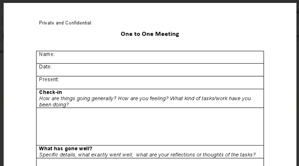 1 To 1 Meeting Template Project Meeting Minutes Template in Word – One on One Meeting Agenda Template