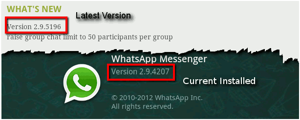 Bluestack whatsapp version