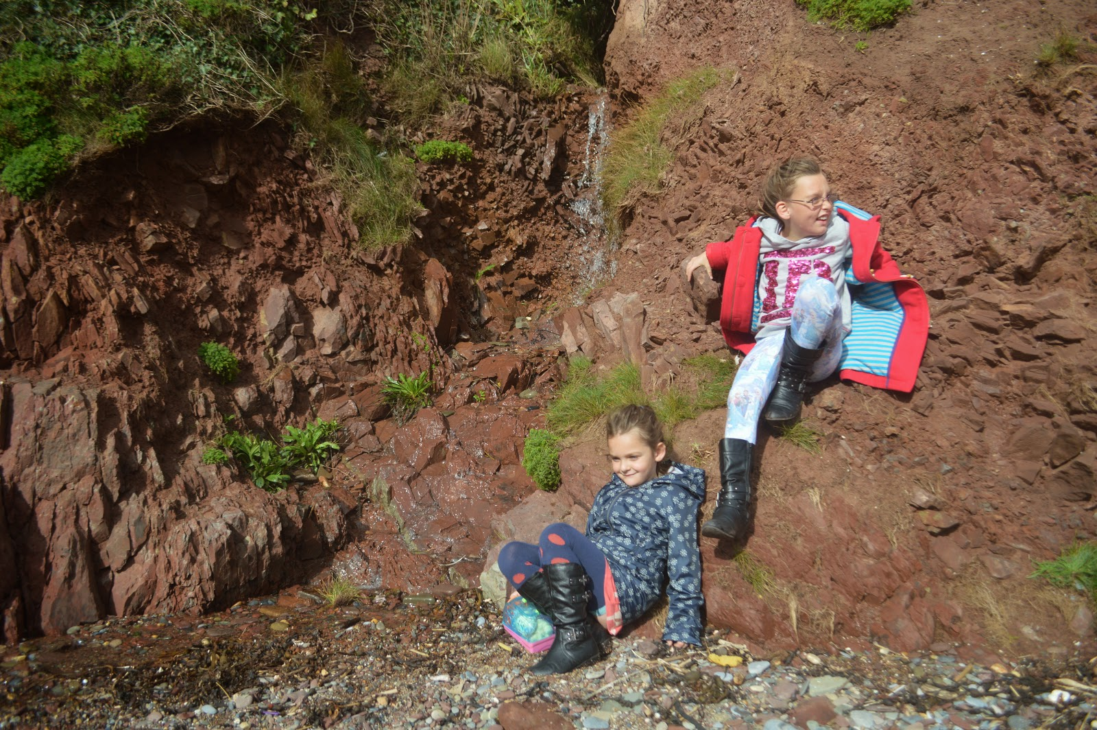 Girls on the Rocks, Manorbier, Pembrokeshire, Wales
