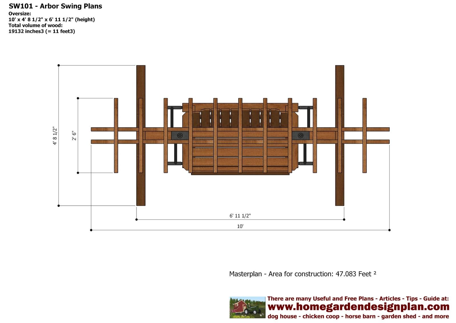 home garden plans SW101 Arbor Swing Plans Construction Graden