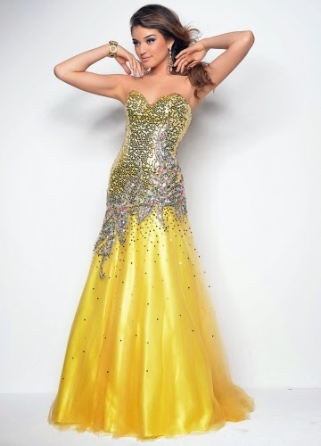 yellow long Elegant Prom Dresses For You