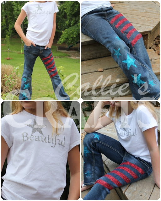 DIY 4th of July Glitter T shirt and Jeans