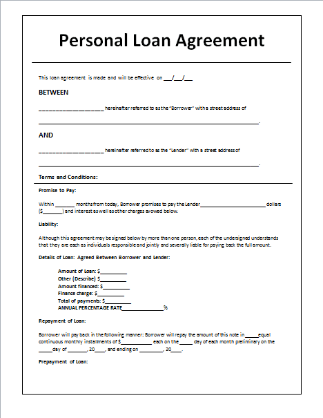 Loan agreement template microsoft