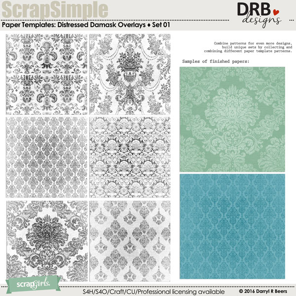 DISTRESSED DAMASK OVERLAYS