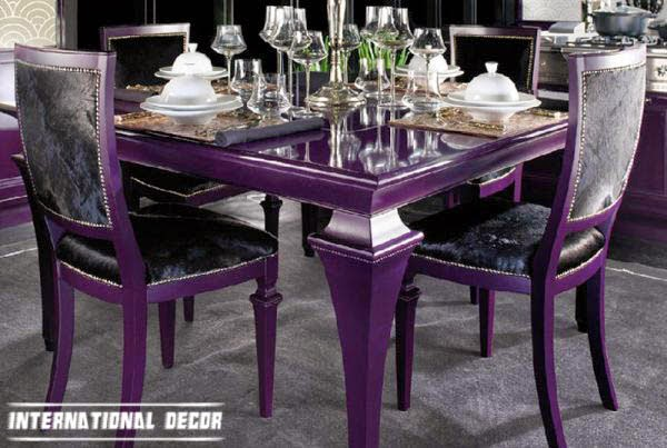 Art Deco kitchen designs and furniture, purple dining table
