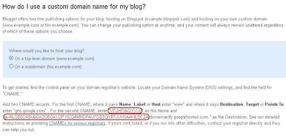 Blogger alan adı yönlendirme, alan adını bloggerde kullanma