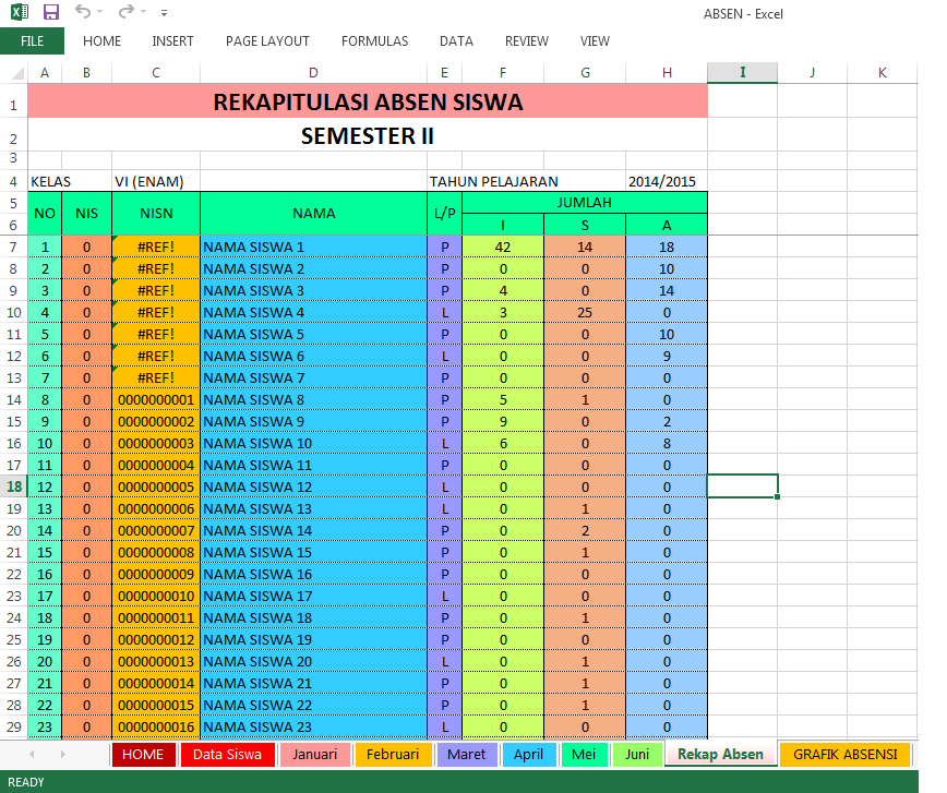Aplikasi Absen Siswa Sd Dengan Excel Guru Galeri
