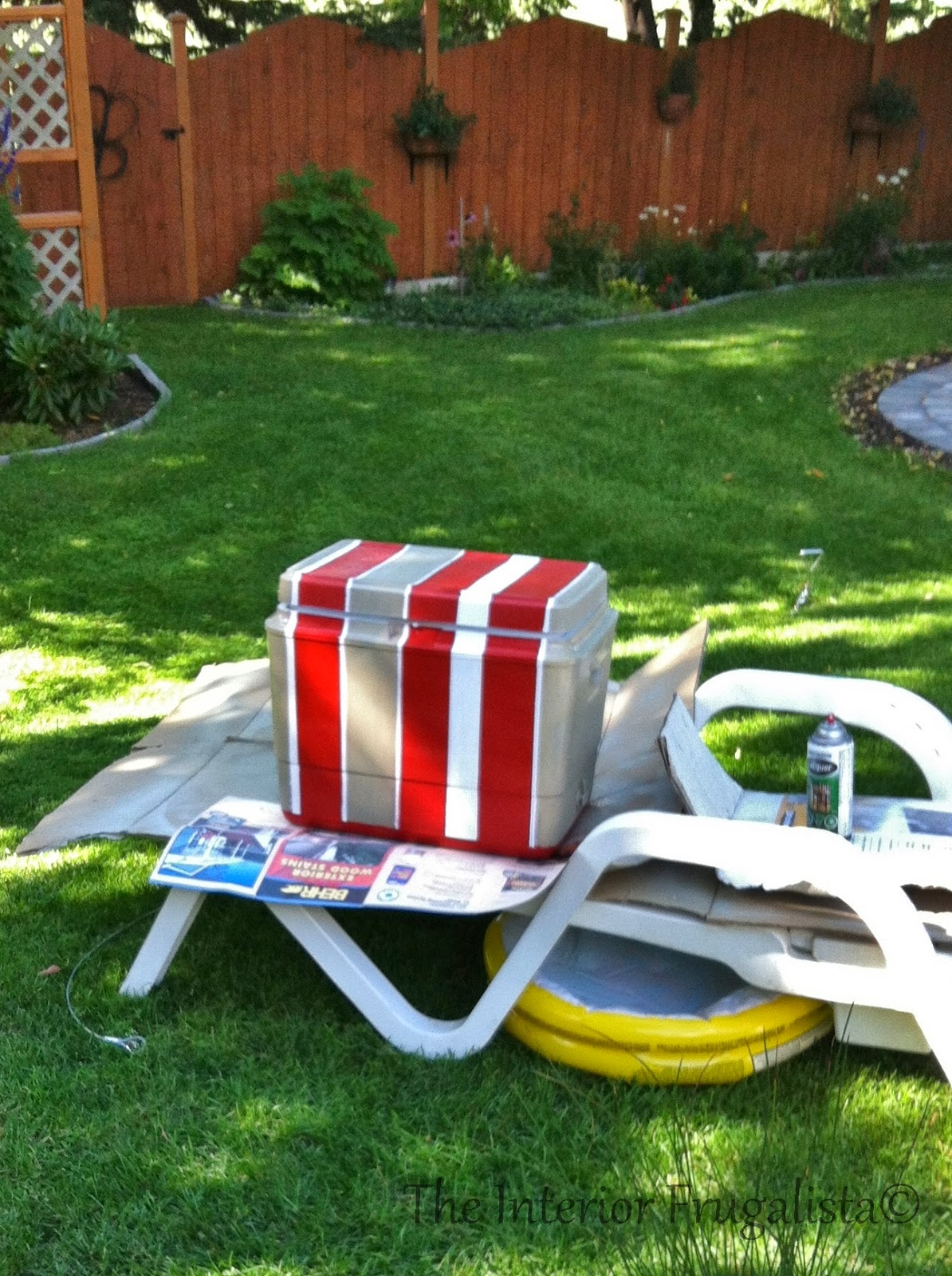 Easy DIY potting bench and outdoor bar painting the cooler
