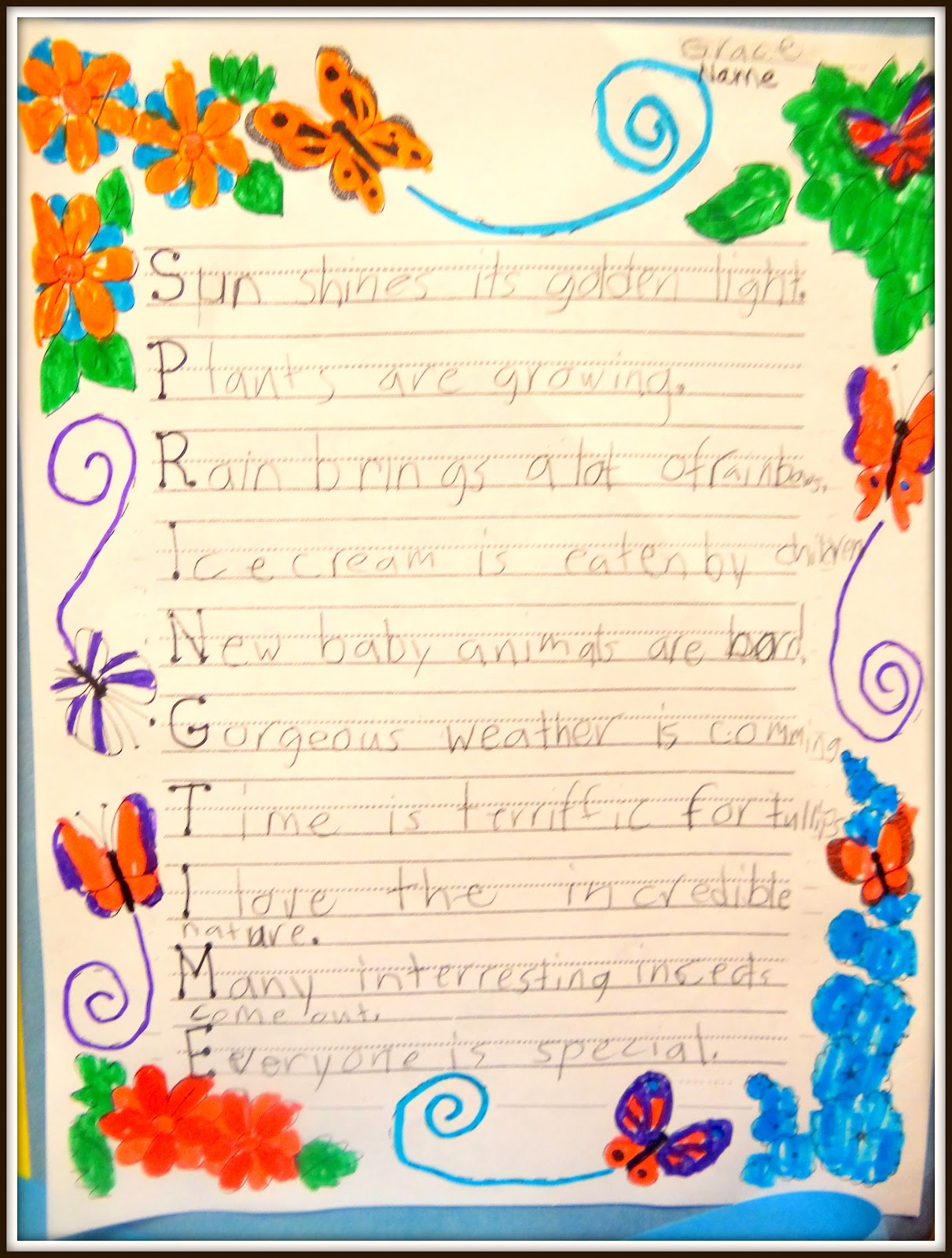 Patties Classroom Springtime Acrostic Poems And Pom Pom Flowers