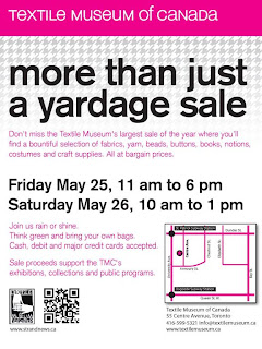 Textile Museum of Canada: More Than Just a Yardage Sale: May 25-26, 2012; poster by strandnews.ca