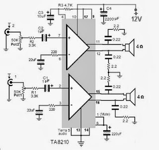 Ta8210ah Audio  lifier 2x22w on stereo amplifier diagram