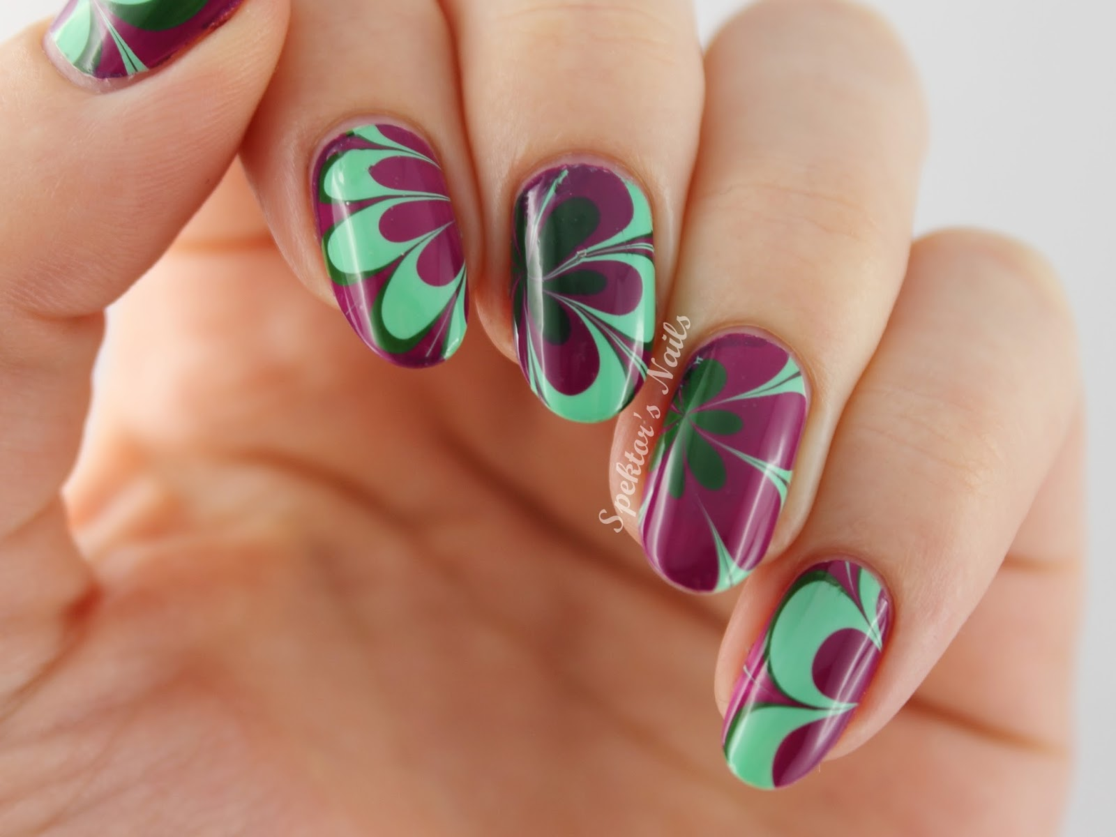 Purple & Mint Water Marble
