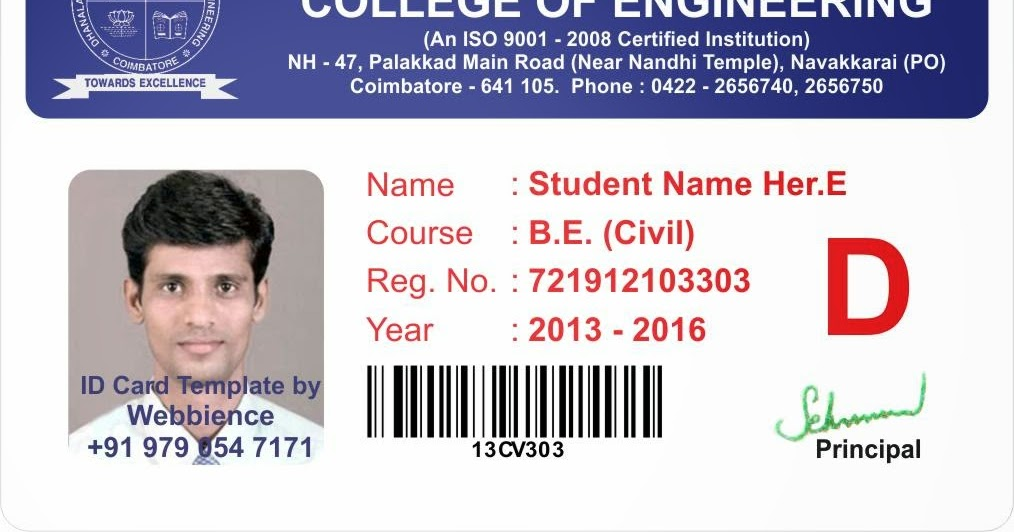 Card - Coimbatore - Ph: 97905 47171: College Student ID Card Template ...