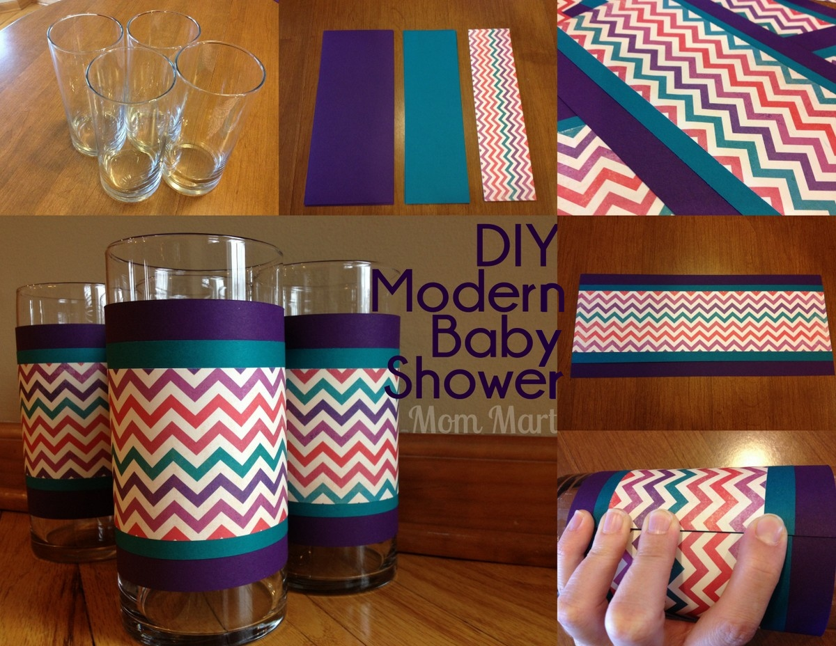 Mom mart diy modern purple baby shower for Baby shower decoration ideas diy