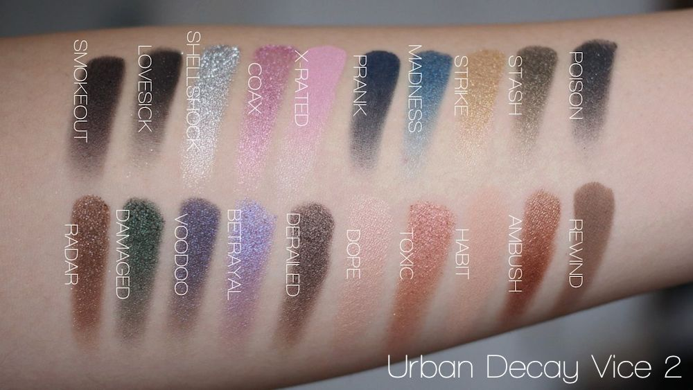 Urban Decay Vice 2 palette swatches all color