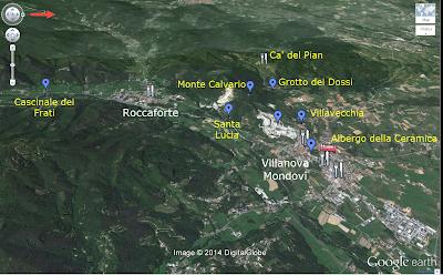 A Map of Villanova Mondovì and the Surrounding Area