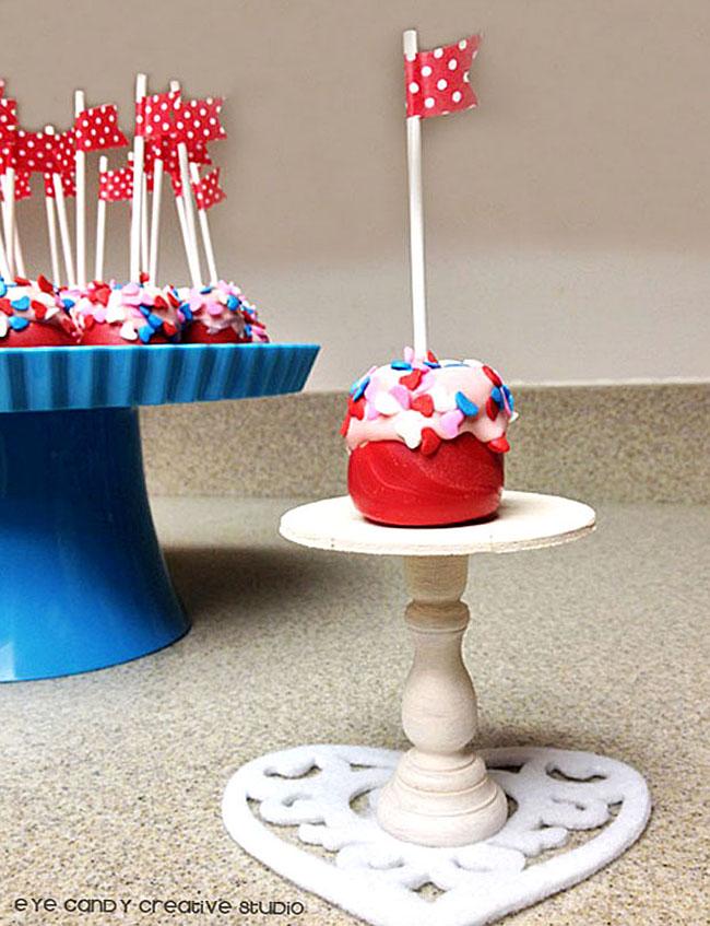 decorating marshmallow pops, mini cake stand, washi tape