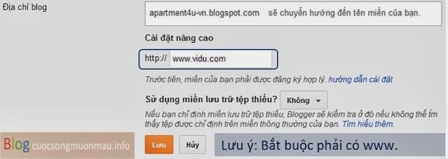 Hướng dẫn gắn tên miền vào blogspot và loại bỏ www