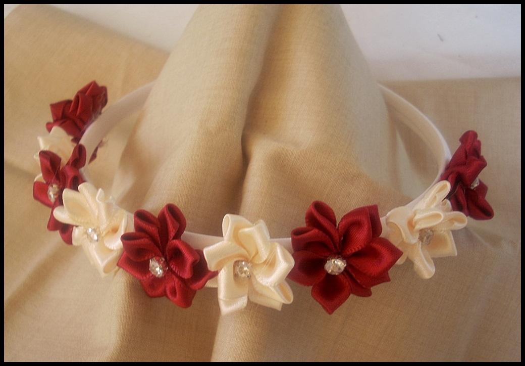 Diademas con flores de seda button lady sun - Diademas de flores para nina ...