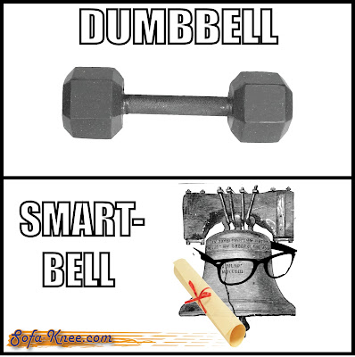 Dumbbell smart bell pun meme