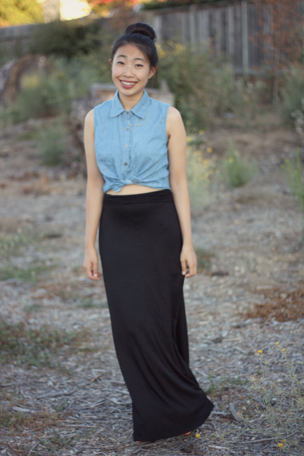 school outfit,black cotton maxi skirt outfit