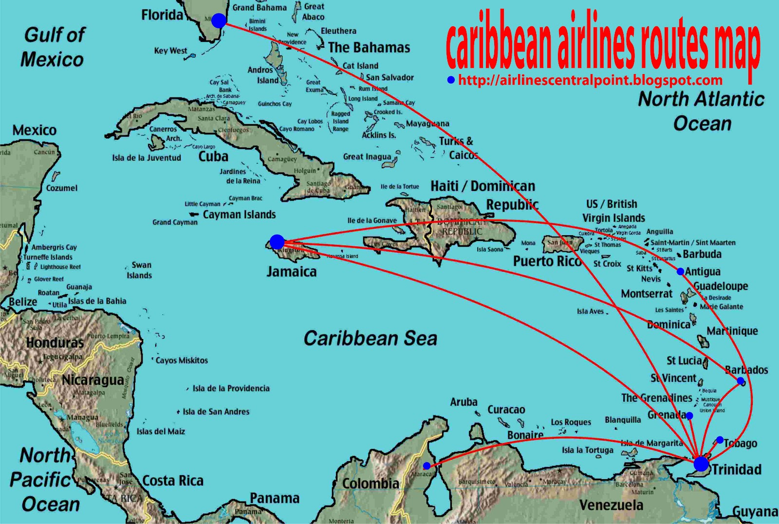 routes map: Caribbean airlines routes map
