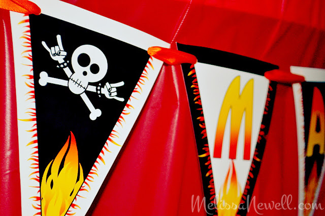 rock on birthday banner, skull, flames, rock star banner, birthday banner