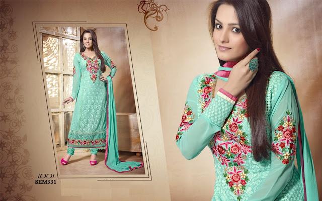 Buy Latest Embroidery Neck Long Salwar Kameez