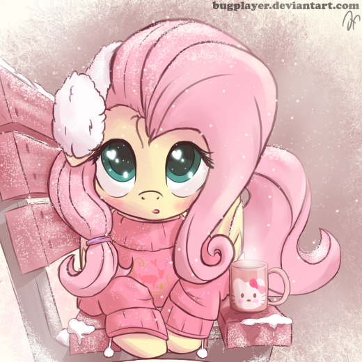 """Stay warm this chilly #FluttershyFriday (Art by Bugplayer)"""