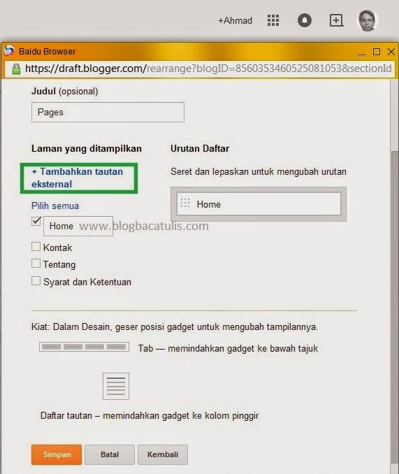 Membuat Menu Di Blog Tanpa Edit HTML