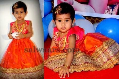 Cute Kid Orange Lace Lehenga