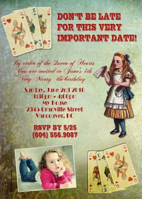 alice wonderland invitation card
