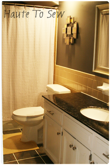 Remodelaholic Bathroom Makeover Yellow Amp Gray Color Scheme