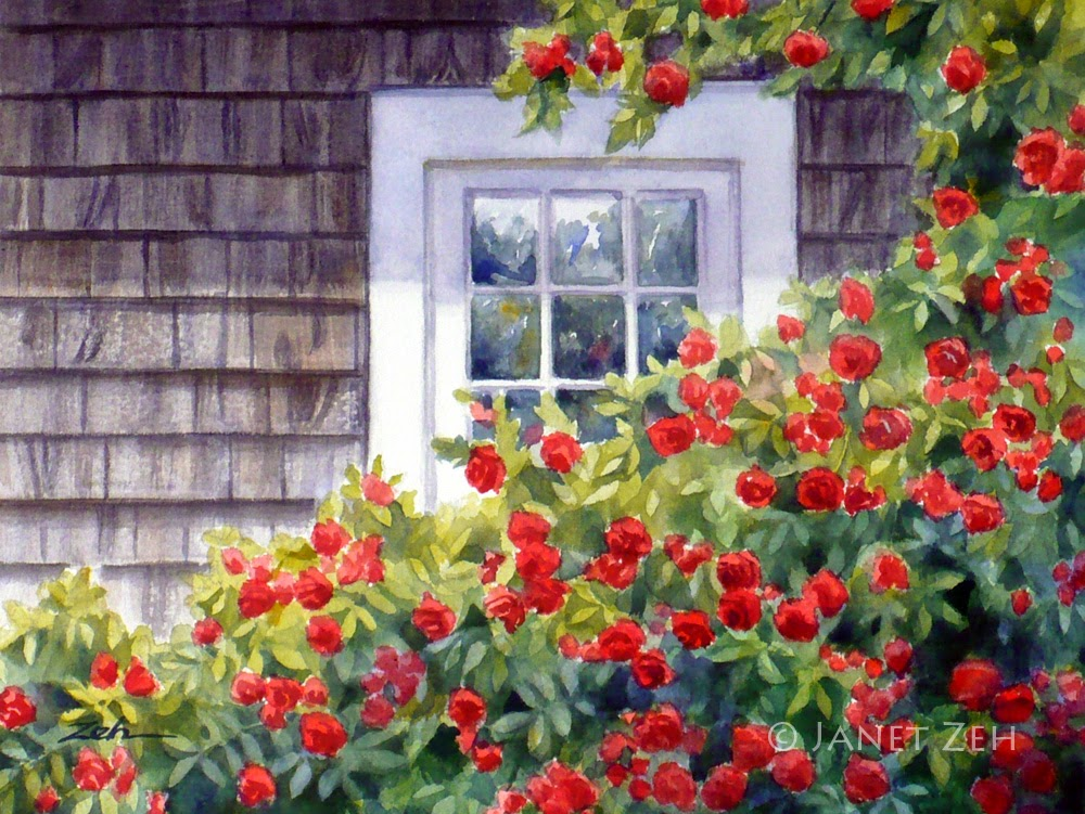 Red roses climb about a window