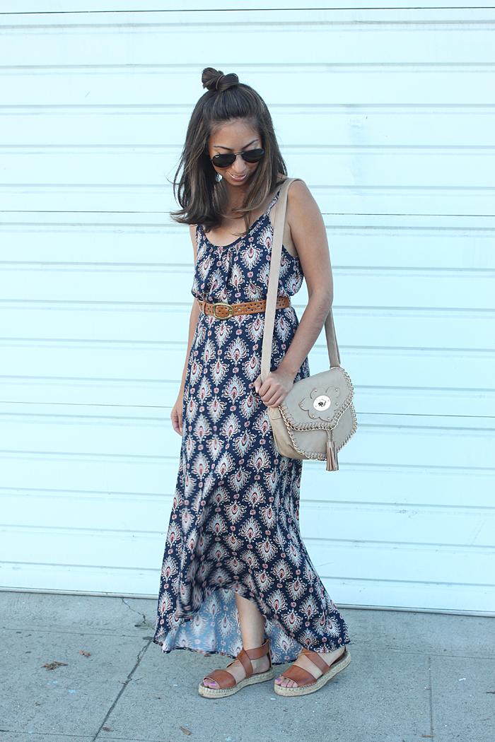 belting a maxi dress
