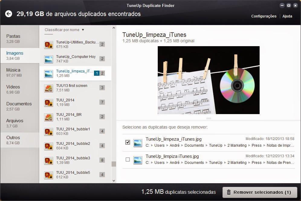TuneUp Utilities: arquivos duplicados