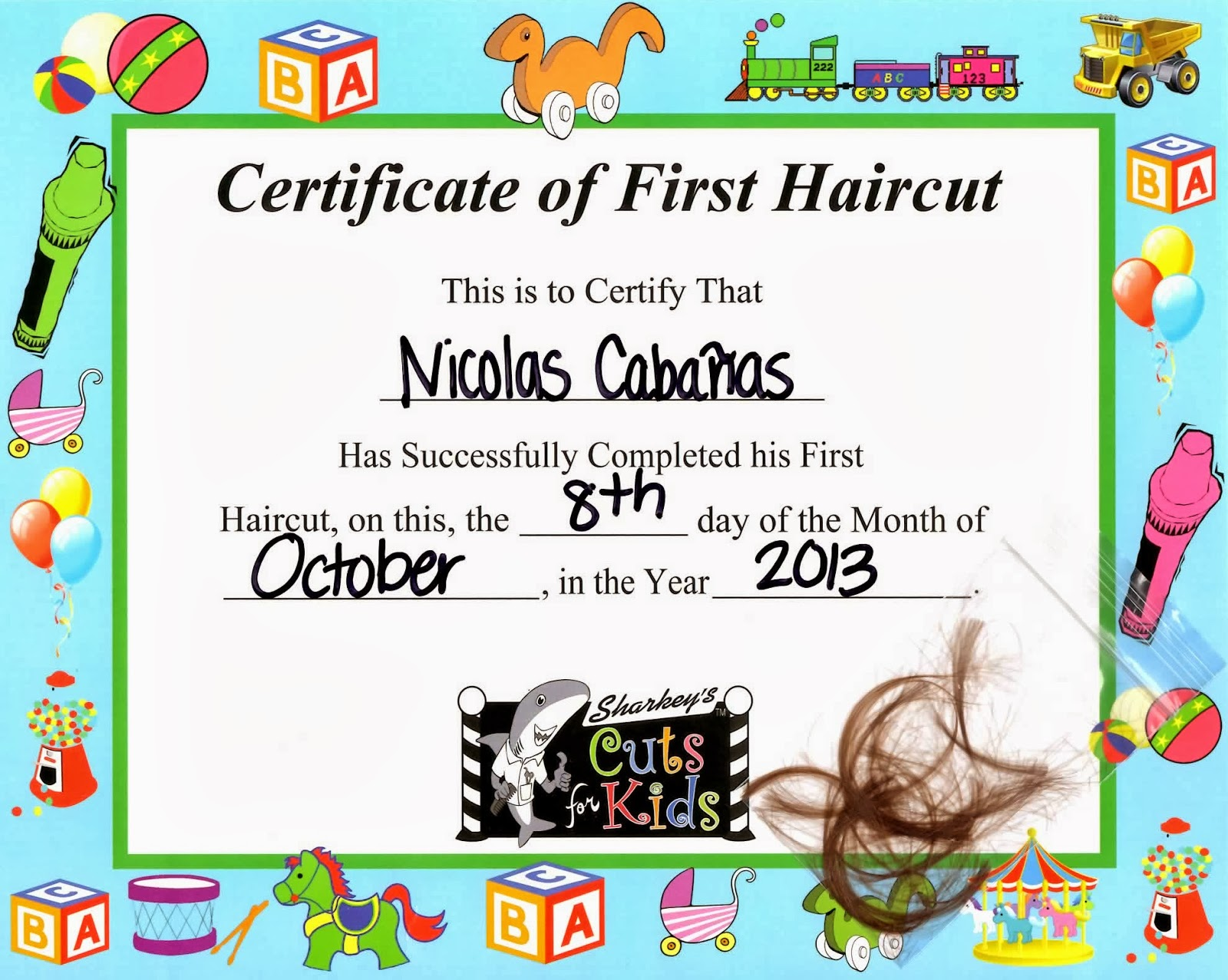 baby s first haircut certificate first haircut certificate template