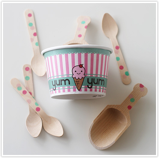 ice cream set with spoons and scoops